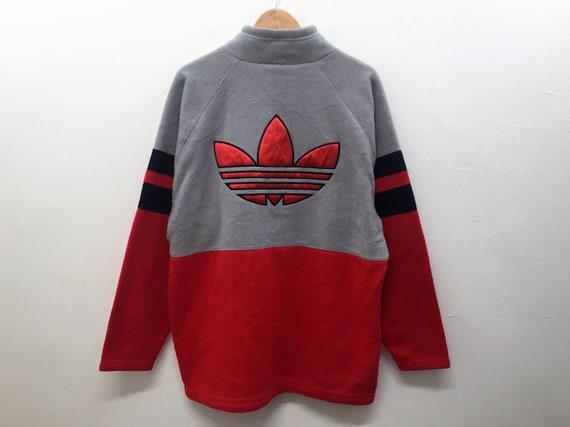 297e25a42330f Vintage 90's Adidas Big logo Embroidered color block fleece jacket large  Tommy Hilfiger Nike Puma nautica karl kani swag gangsta rap hiphop