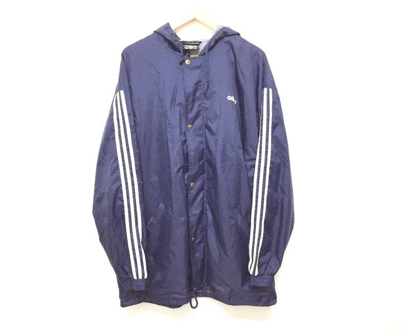 f29887c8ee2a5 Rare!!Vintage 90's ADIDAS Stripe Parka Jacket Hip Hop Style Gangsta rap Run  DMC Nike Tommy Hilfiger Nike big Logo guess
