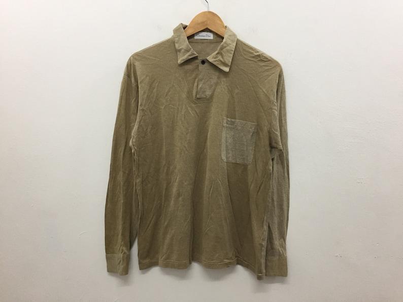 Vintage 80 s Christian Dior long sleeve polo shirt  4b43eca3bd479