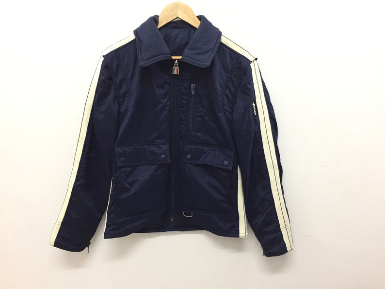 e0af99cfab1f8 Vintage 90s ELLESSE Warm rider jacket white stripes Nike Adidas hip hop  gangsta rap Tommy Hilfiger nautica guess karl kani