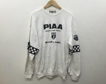 RARE!!Vintage PIAA Motorsport formula one racing sweatshirt size Large Honda Suzuki Bell nismo 76 Lubricant yahama ferari p9vxm6q