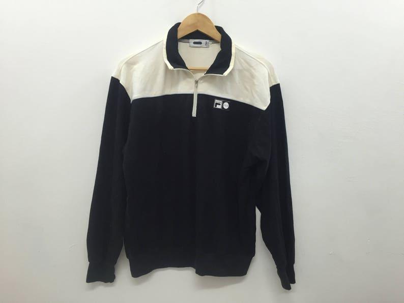 c4e89bd3e6d85 RARE!!Vintage 90's FILA Half Zipper Raglan Sweatshirt Polo sport Tommy  Hilfiger Nike Adidas Nautica Hip hop gangsta rap fred perry