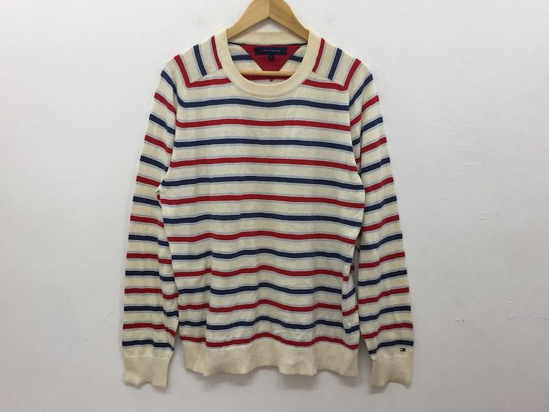 4f76a089eb868 Vintage 90's TOMMY HILFIGER knitwear striped Sweatshirt Polo sport Polo  Bear Supreme Nautica hip hop gangsta rap karl kani guess Nike
