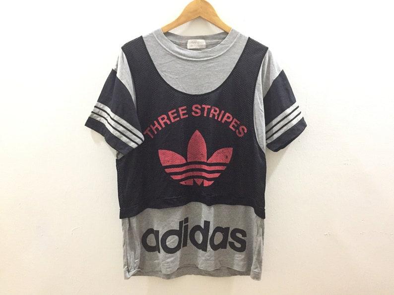 555854d1b1105 Vtg ADIDAS 80's Big Logo Spellout holey jersey Tommy Hilfiger Polo Bear Hip  Hop Karl kani Nike gangsta rap guess Fubu