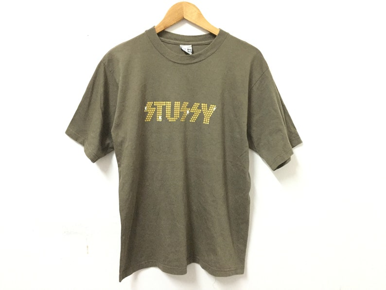 875873cb845dd Rare!!Vintage 90's STUSSY KISS iron on Gold logo tee Made in USA Undercover  Supreme Wtaps Streetwear Bape number nine comme des garcons