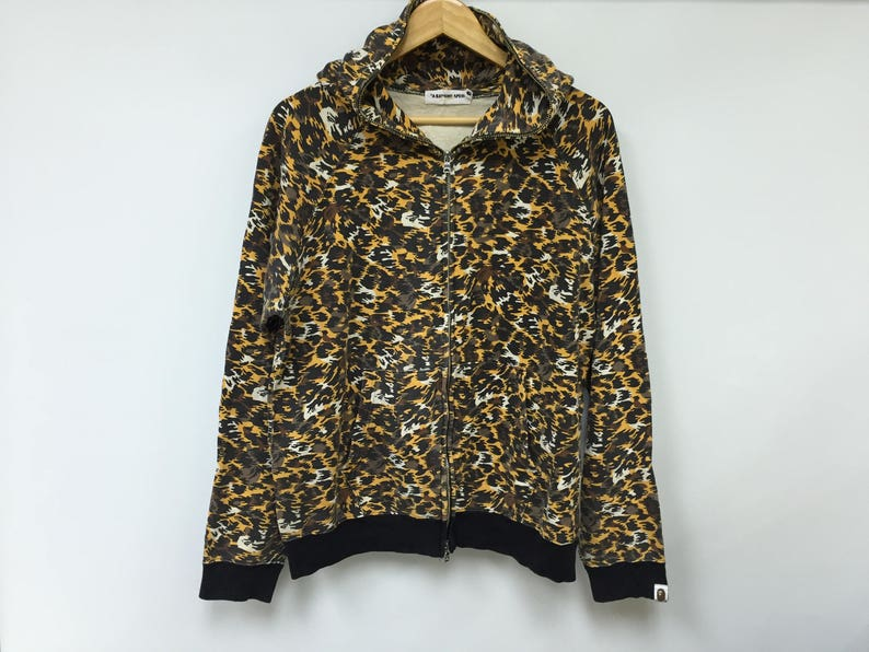 a596317dfe68 RareVintage Bathing Ape Bape Leopard Camo hoodie Supreme