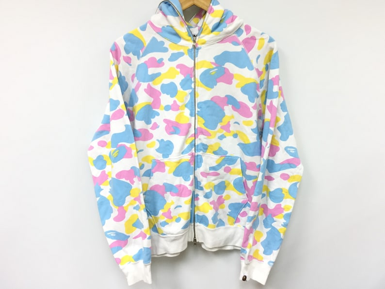 854439177786 RARE Bathing Ape Bape Cotton Candy All Over Camo Multi Color