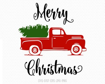 Christmas Tree Truck Svg Free.Christmas Truck Svg Etsy