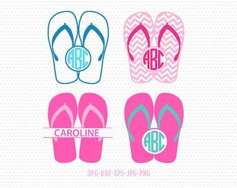 21bc87e96bb21 Summer Flip Flops monogram frames SVG