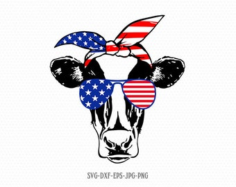 American Eagle Flag Bandana Red White Blue 4th of July SVG DXF Silhouette Cameo Cricut Cut File