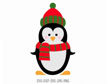Christmas Penguin SVG, Penguin SVG, Christmas SVG Cutting File Svg, CriCut Files svg jpg png dxf Silhouette cameo