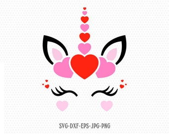 valentines day unicorn svg, unicorn eyelashes svg, Love valentine svg, valentines Day SVG, cricut, Silhouette cut file svg dxf eps jpg png