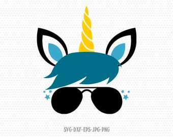 Boy unicorn svg, unicorn boy birthday svg, unicorn eyelashes, Magical unicorn svg, Cricut, Silhouette Cut File, SVG DXF EPS