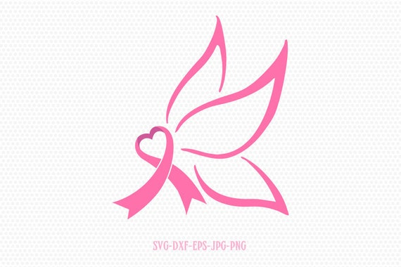 Butterfly Cancer Ribbon Cancer Svg Breast Cancer Ribbon Etsy