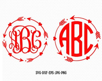 Heart Arrow Monogram Svg Files, Valentine svg Design,CriCut Files frame svg jpg png dxf Silhouette cameo