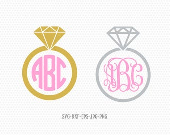 Diamond Ring SVG Cut Files, Wedding Ring SVG Cut Files, Monogram Frames,for CriCut Silhouette cameo Files svg jpg png dxf