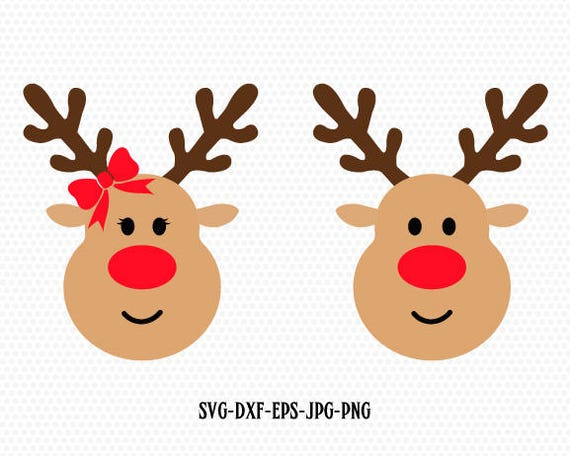 rudolf christmas xmas reindeer svg boy and girl reindeer etsy