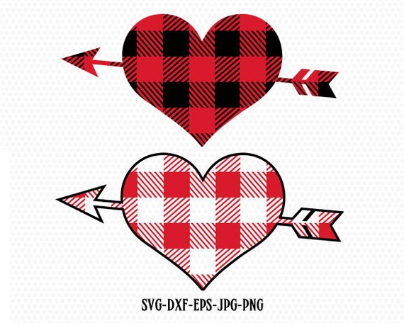 Valentines Heart With Arrow Svg Plaid Heart Svg Heart Svg Etsy