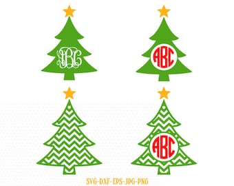 Christmas tree monogram  SVG, monogram Christmas SVG Cutting File Svg, CriCut Files svg jpg png dxf Silhouette cameo
