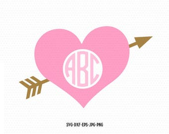 Heart Arrow Monogram frame Svg Files, Valentine svg monogram Design,CriCut Files frame svg jpg png dxf Silhouette cameo
