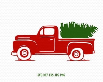 truck tree retro vintage winter holiday svg,merry christmas,Christmas SVG Cutting File Svg, CriCut Files svg jpg png dxf Silhouette cameo