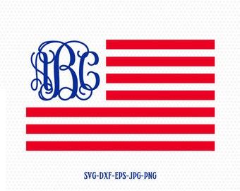 usa flag monogram svg, American Flag SVG, Fourth of July SVG, 4th of July Svg, Patriotic SVG, America Svg, Cricut, Silhouette File, svg dxf