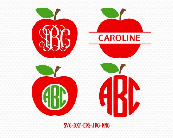 Teacher Svg Apple Svg Apple Monogram Svgteacher Monogram Etsy