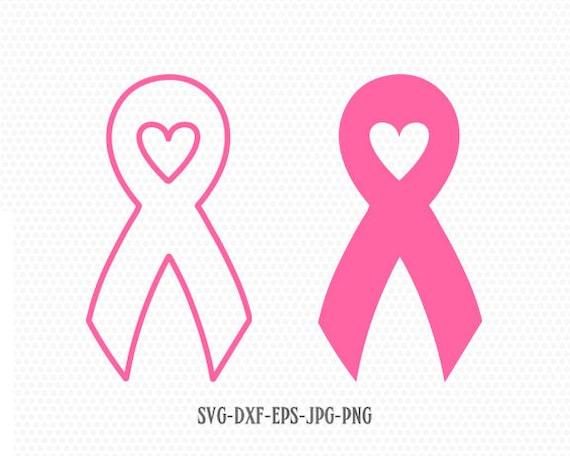 Cancer Ribbon Heart Love Svgcancer Awareness Ribbon Svg Etsy