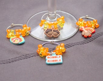 Set of 4 Thanksgiving Wine Glass charms