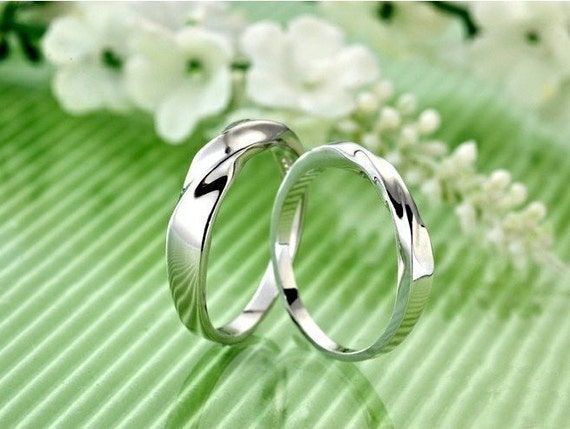 f86da5134e9 Promise rings for couples/promise ring/engagement ring/his and her promise  rings/mobius ring/couple rings/couples ring/925 sterling silver