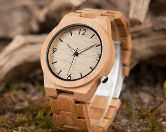 Bamboo Wooden Watch/custom father's day/dad matching/fathers day gift/watches for men/men watch in wood