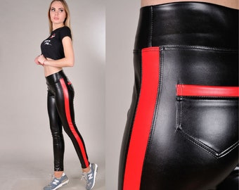 6e887a5787165 Red & Black Leather Leggings, Side Stripe Pants, Wet Look Leggings, High  Waisted Liquid Leggings with Pockets, Pleather Leggings