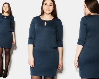 Dunkel Blau Plus Größe Büro, Lagenlook Kleid, einfache Viskose Kleid, Knielanges Kleid XL, 2XL versandkostenfrei