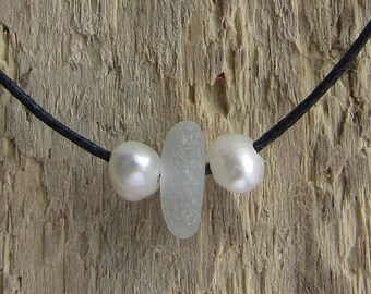 Clear sea glass and fresh water pearl bracelet/anklet| Unique| Authentic sea glass| Mermaid tear| Cornish