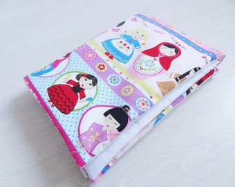 """Cover extra girl, plaid cotton fabric baby """"dolls of the world"""" and white cotton"""