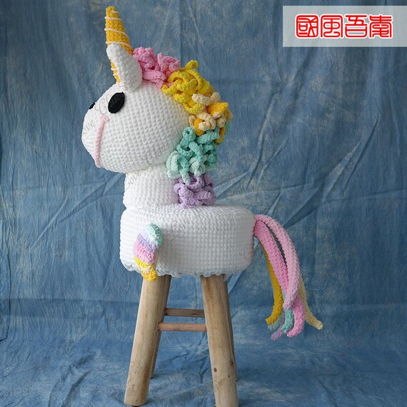Kinder Mädchen Tier Hocker Rainbow Unicorn Häkeln Hocker Etsy