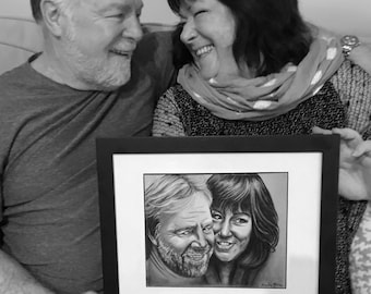 Custom Portrait (2 people), Couple Portrait, Custom Drawing from Photo, Portrait Drawing, art by Karly Marie