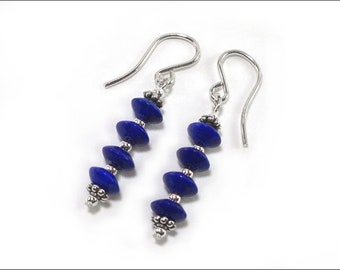 Lapis Lazuli Earrings - Lapis Round Saucers and Sterling Silver Bali-Style spacer beads