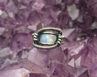 2017 Markdown* Handmade Wire Wrapped Rainbow Moonstone and Garnet Ring