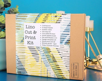 Classic Linocut Kit - Lino Print Kit - with Artist Cath Carmyllie - 10 items - ink  colour choice - UK made - video tutorial