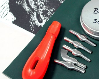 Linocut tool - student quality with 5 shapes profile blades - includes a mark making exercise sheet + video tutorial - linoprint