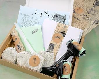 Premium Linocut Kit - Lino Print Kit - with Artist Cath Carmyllie - 18 items - 4 ink colour choice - Britain made - video tutorial