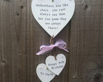 Personalised Godmother Godfather Godparent Birthday Present Gift Heart Plaque