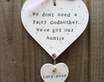 Personalised auntie plaque heart presents gift