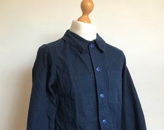 French workwear size M jacket, Moleskin, French Vintage, Bum-freezer, Vintage Workwear, Bleu de Travail, Chore Coat, Vespa, Indigo, Sanfor,