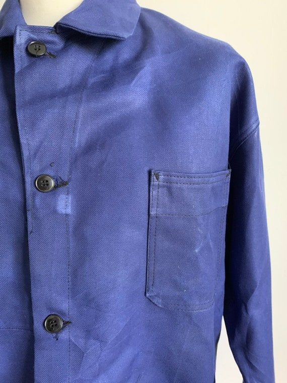 French Blue Workwear, Size L, Vintage Chore Coat,
