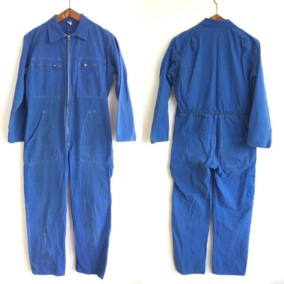 French Vintage Jumpsuit, Size M Blue Coveralls , B
