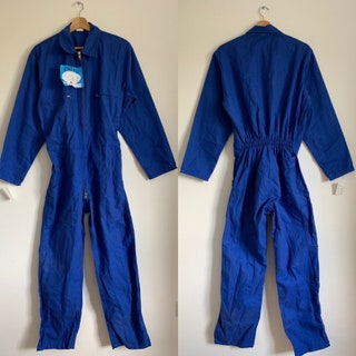 French Vintage Jumpsuit, Size S, Blue Boilersuit, Overalls, BS7 DEADSTOCK NOS