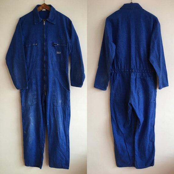 French SNCF Vintage Jumpsuit, Size M, Blue Boiler-