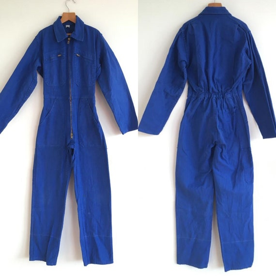 French Vintage Jumpsuit Overalls brown Boilersuit DEADSTOCK PC16 Size S